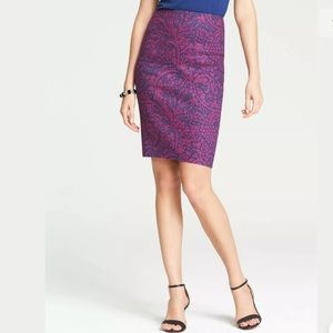 Ann Taylor Inked Paisley Pencil Skirt